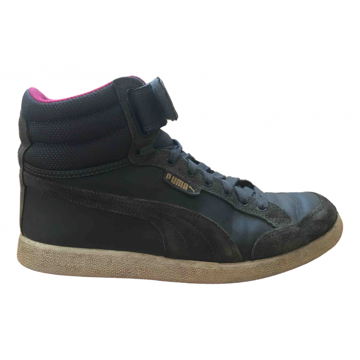 Puma \N Anthracite Leather Trainers for Women 38 EU