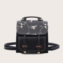 Floral Embroidered Flap Backpack