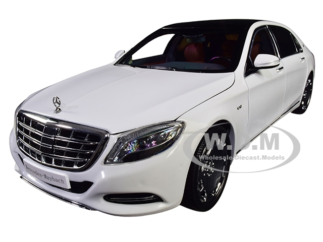 2016 Mercedes Benz Maybach S Class Diamond White with Black Top 1/18 Diecast Model Car by Almost Real