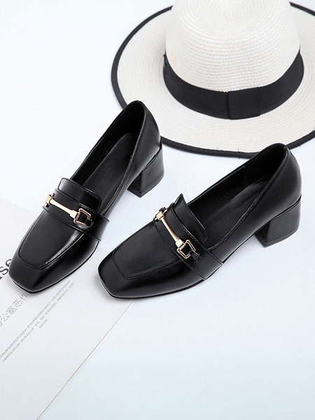 Milanoo Black PU Leather Loafers Square Toe Artwork Metal Details Casual Women\'s Shoes