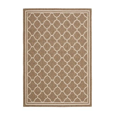Safavieh Courtyard Collection Crispian Geometric Indoor/Outdoor Area Rug, One Size , Brown