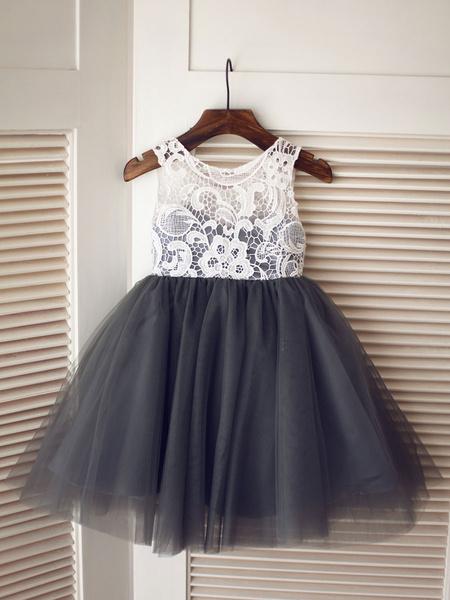 Milanoo Blanco Negro tafetan rayas longitud de la rodilla vestido de niña de las flores