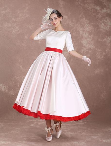 Milanoo Rockabilly Wedding Dresses Short Vintage Bridal Dress 1950's Satin Half Sleeve V Back Bow Sash Tea Length Wedding Reception Dress