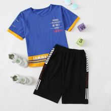 Boys Letter Graphic Tee With Track Shorts