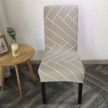 Funda de silla elastica con patron geometrico