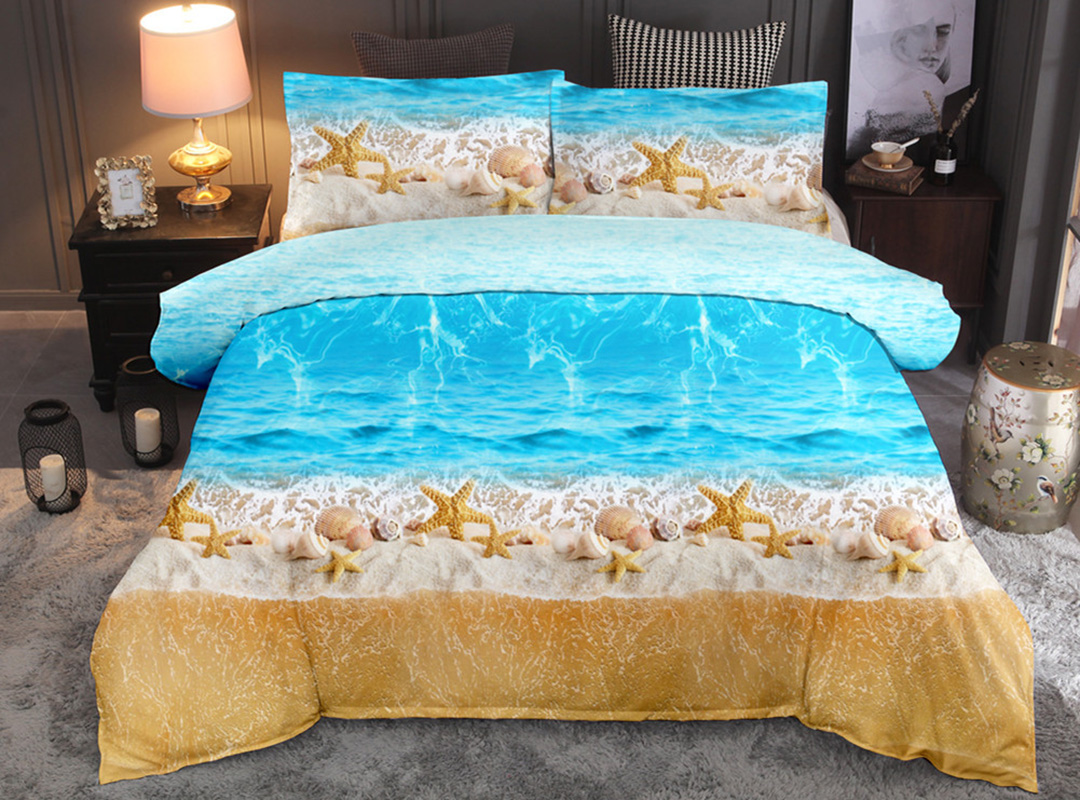 Blue Sea Beach and Starfish Soft 3-Piece Duvet Cover Set with 2 Pillowcases