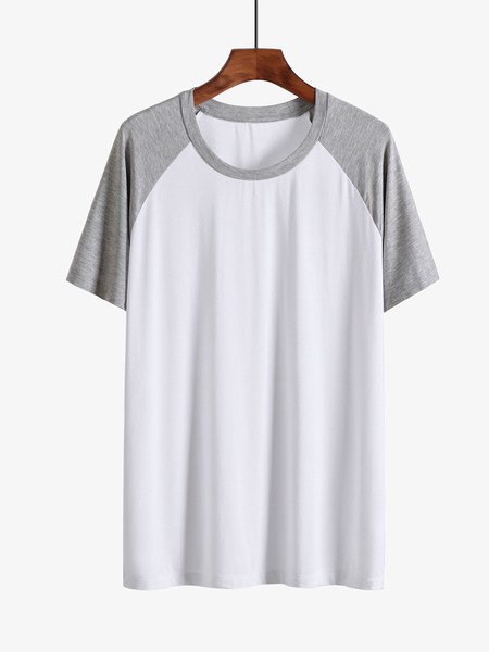 Yoins Men Summer Casual Soft Color Block Patchwork Splice T-Shirt