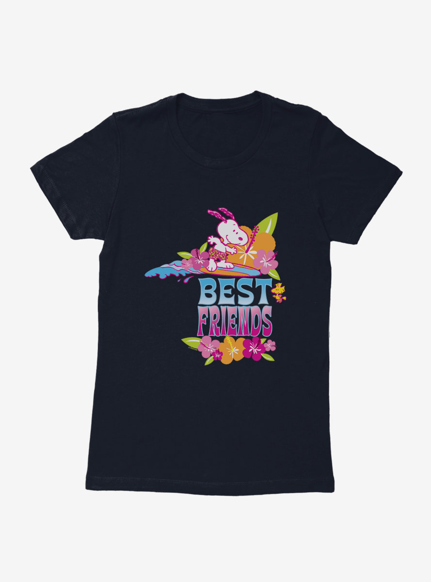 Peanuts Best Friends Snoopy Woodstock Surf's Up Womens T-Shirt