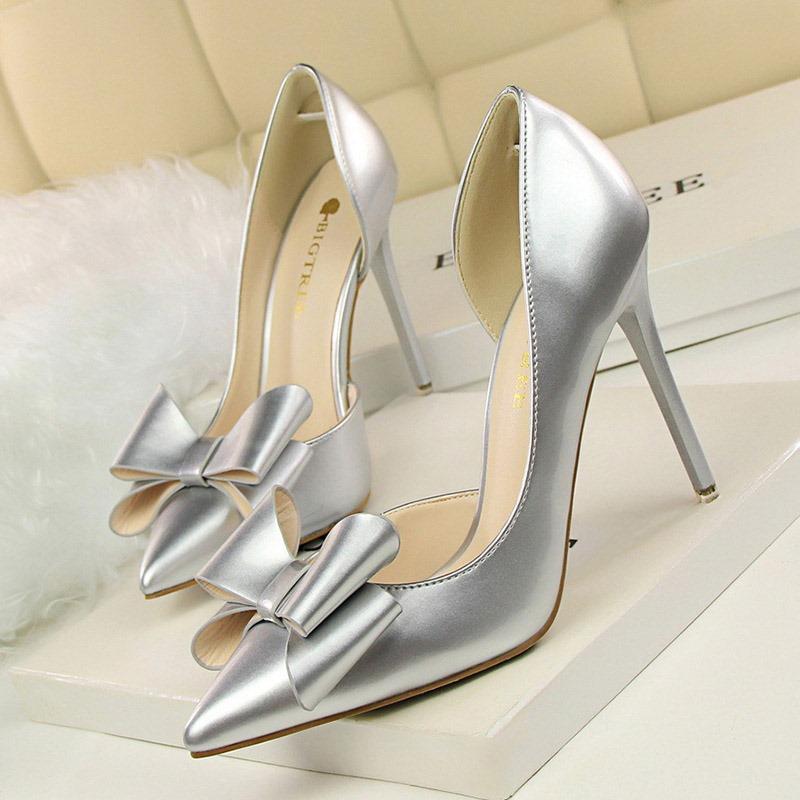 Ericdress PU Bow Pointed Toe Stiletto Heel Women's Pumps