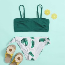 Girls Tropical Rib Tie Side Bikini Swimsuit