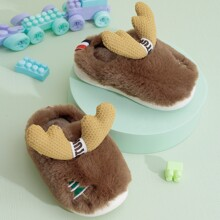 Toddler Boys Tree Embroidered Fluffy Slippers