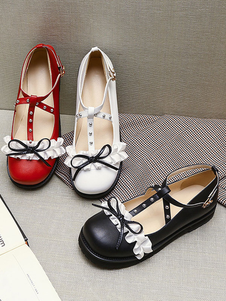 Milanoo Sweet Lolita Footwear White RufflesBowsRivets Round Toe PU Leather Lolita Pumps