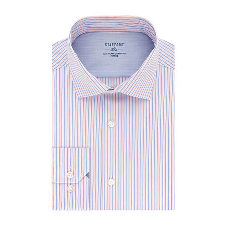 Stafford Mens Wrinkle Free 365 All-Temp Flex Collar Big and Tall Dress Shirt, 19 34-35, Pink