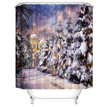 Christmas Tree Print Shower Curtain With 12hooks