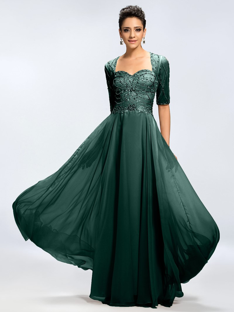 Ericdress Beading Backless Half Sleeve Mother of the Bride Dress