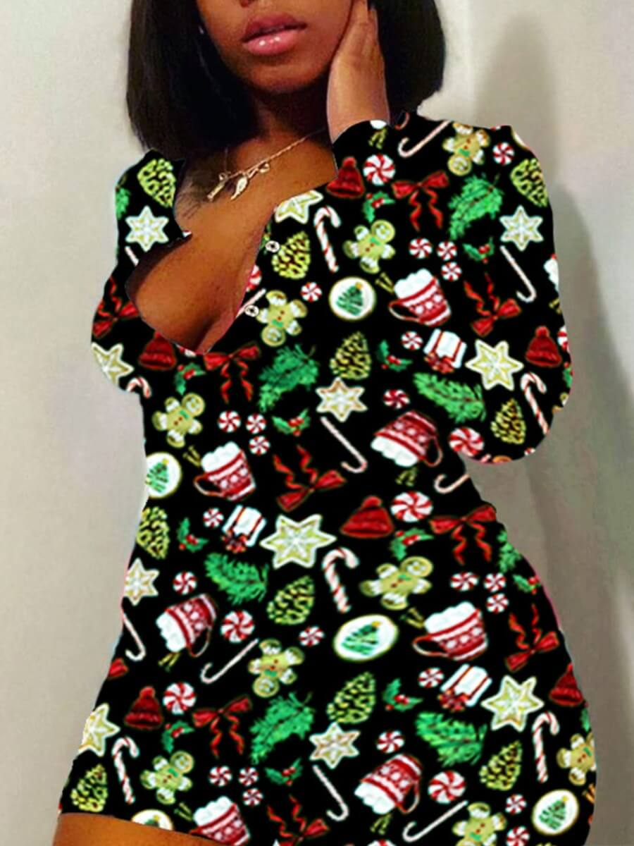LW Lovely Casual Christmas Day Print Black Plus Size One-piece Romper