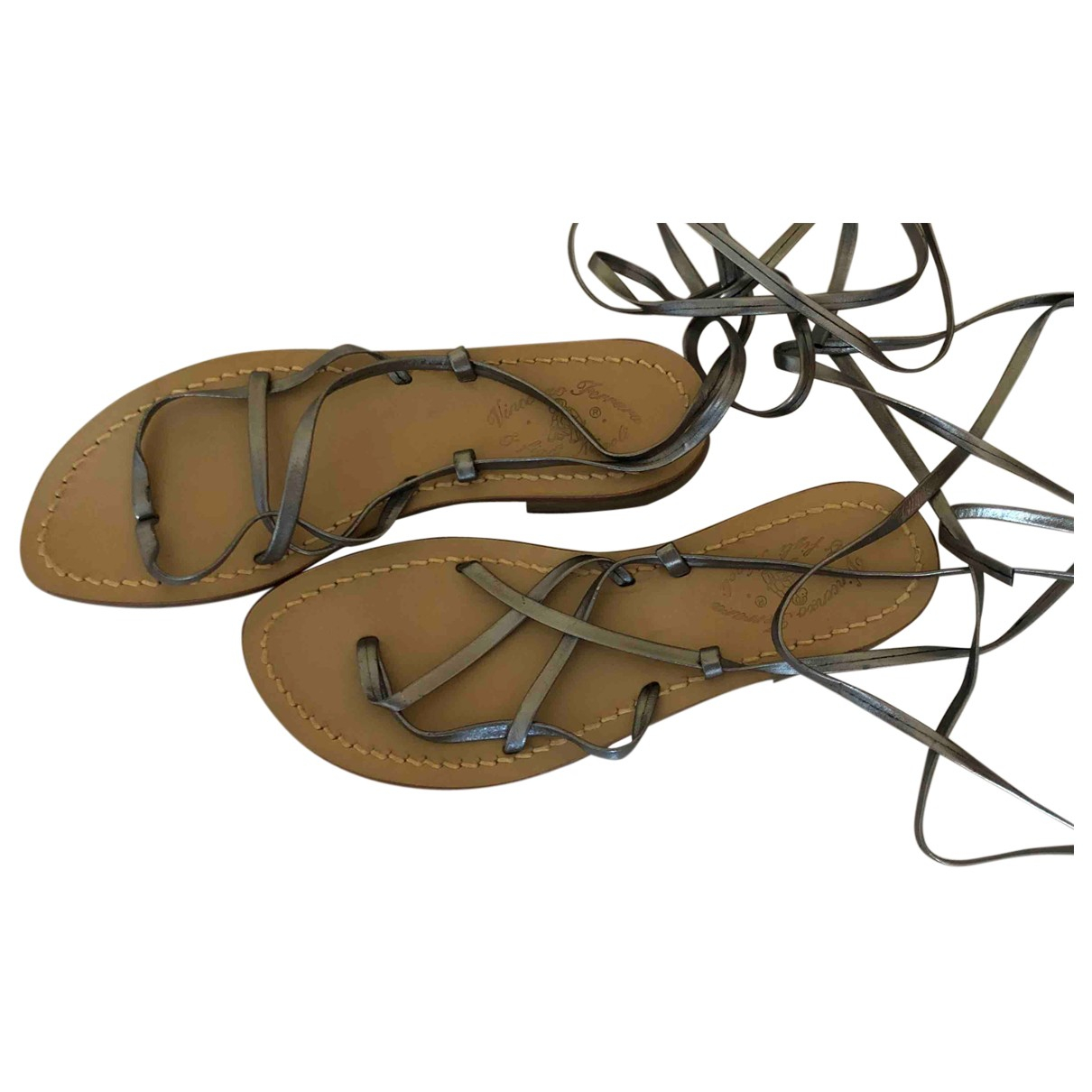 Non Signé / Unsigned \N Silver Leather Sandals for Women 37 IT