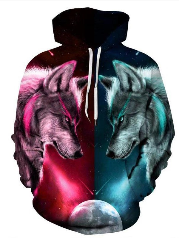 Fashion 3D Digital Galaxy Wolves Pullover Hoodie Hooded Sweatshirt Athletic Casual with Pockets