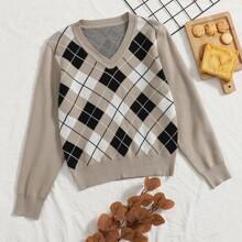 Pullover mit V Kragen und Argyle Muster