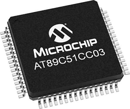 Microchip AT89C51CC03UA-RDTUM, 8bit 80C51 Microcontroller, AT89C51, 40MHz, 64 kB Flash, 64-Pin VQFP (160)