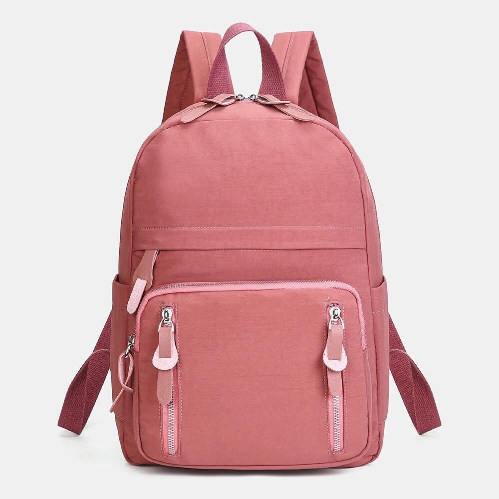 Women Nylon Basic Casual Backpack School Bag