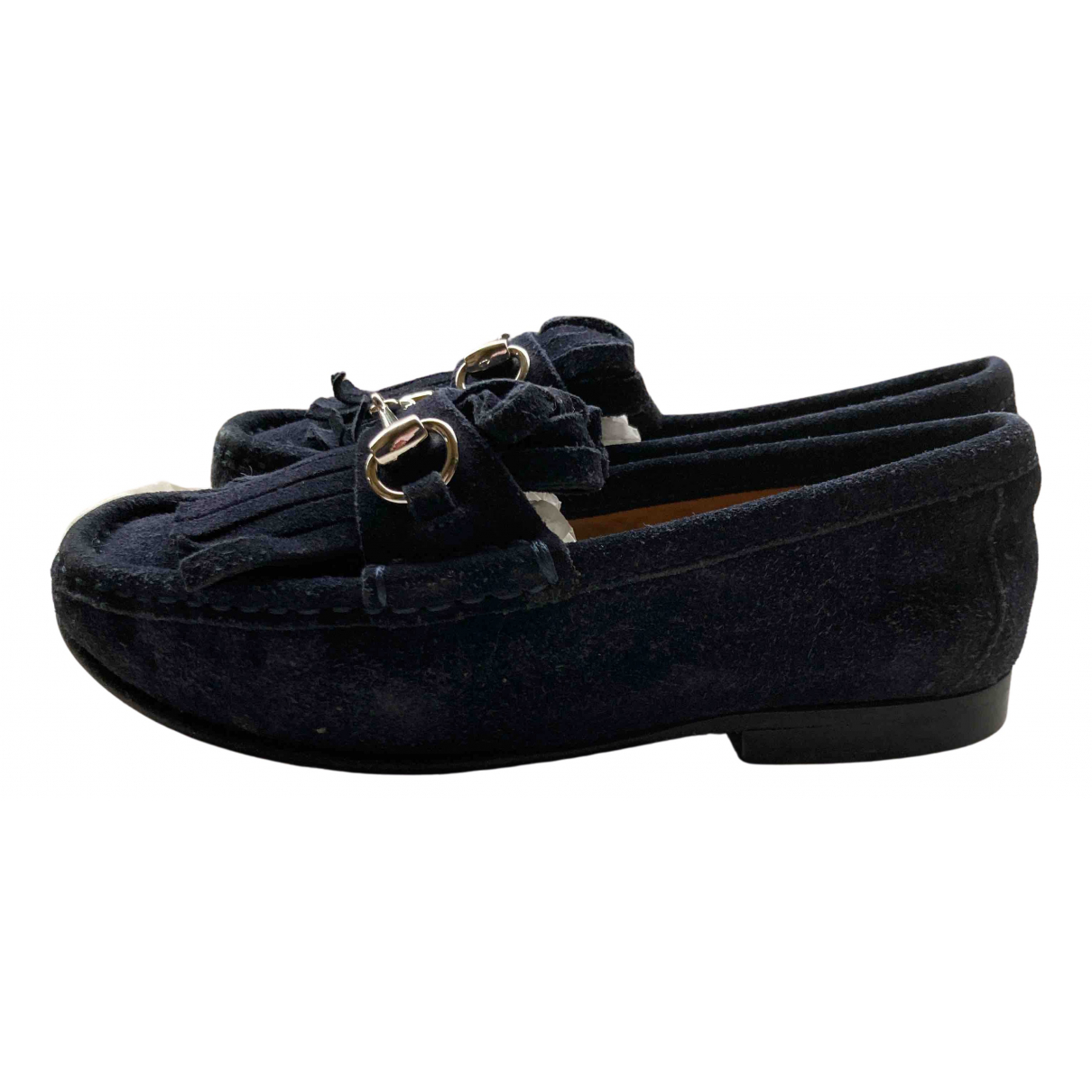 Gucci N Blue Suede Flats for Kids 29 FR