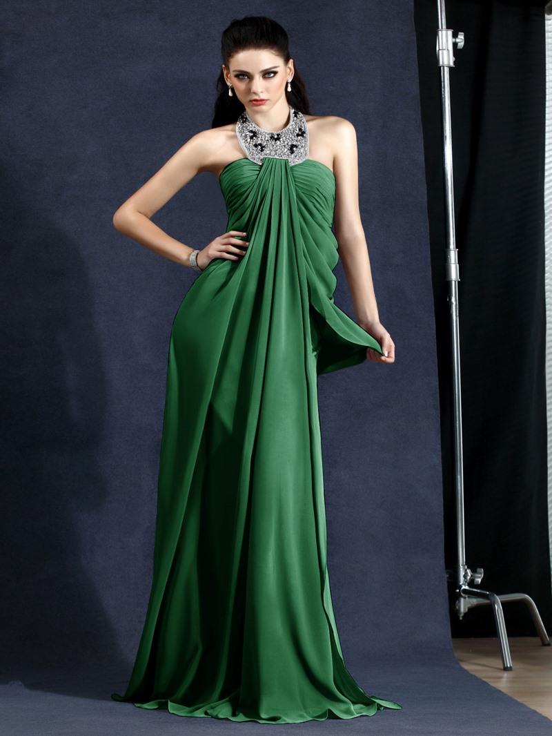 Elegant A-Line Halter Draped Floor-Length Polinas Evening Dress