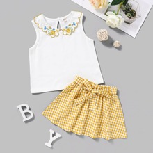 Toddler Girls Floral Embroidery Top & Gingham Belted Skirt