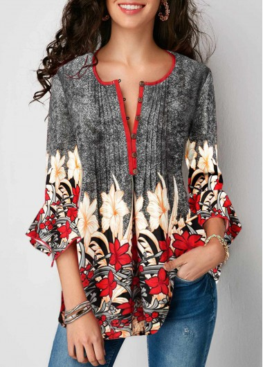 Printed Three Quarter Sleeve Button Up Pleated Blouse - L