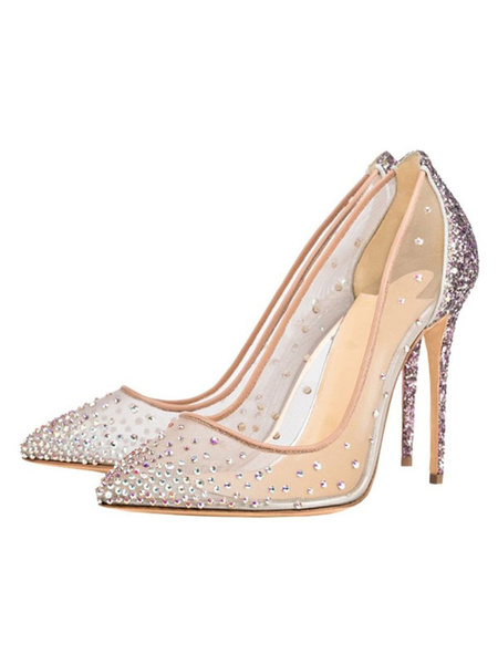 Milanoo Clear Prom Heels Sparkly Wedding Pumps Pointed Toe Crystal High Heels