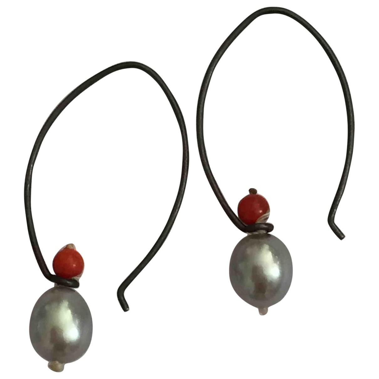 - Boucles doreilles   pour femme en argent - gris