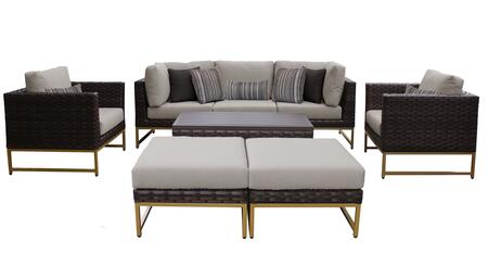 Barcelona BARCELONA-08c-GLD 8-Piece Patio Set 08c with 2 Corner Chairs  2 Club Chairs  1 Armless Chair  1 Coffee Table and 2 Ottomans - 1 Beige Cover