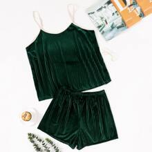 Plus Velvet Contrast Binding Cami Pajama Set