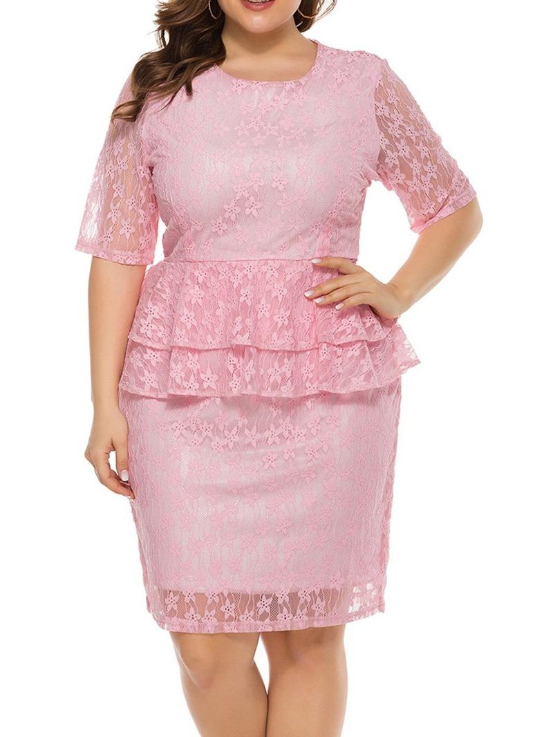 Ericdress Half Sleeve Round Neck Knee-Length Pullover Dress