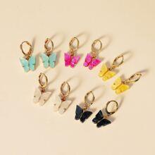5pairs Butterfly Charm Drop Earrings