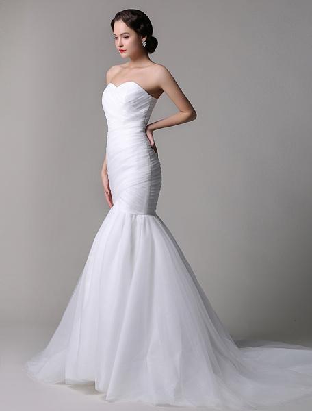 Milanoo Vestido de novia de tul con escote en corazon y adorno arrugado