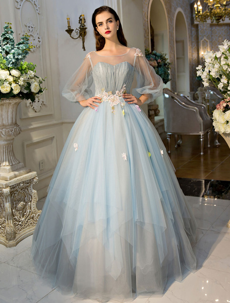 Milanoo Princess Prom Dresses Luxury Long Sleeve Illusion Tulle Lace Flowers Beaded Baby Blue Tiered Womens Pageant Dresses