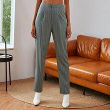 Pantalones Cremallera A rayas Elegante