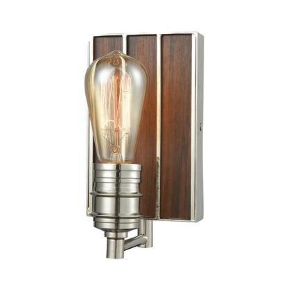 16430/1 Brookweiler 1 Light Vanity in Polished Nickel with Dark Wood