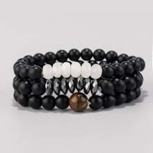3pcs Guys Simple Beaded Bracelet