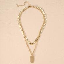 Collar de cadena colgante metalico geometrico