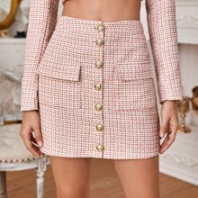 Gold Button Front Flap Pocket Tweed Skirt