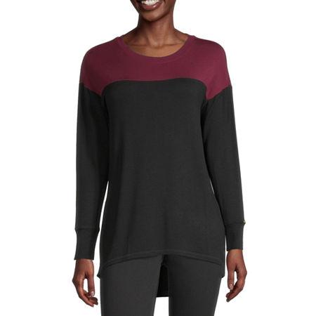 Liz Claiborne Womens Round Neck Long Sleeve Tunic Top, X-small , Black
