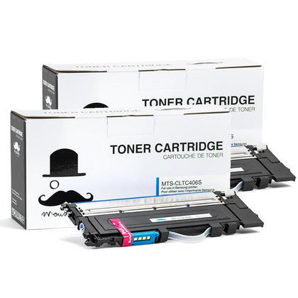 Compatible Samsung CLT-C406S Cyan Toner Cartridge - Moustache - 2/Pack