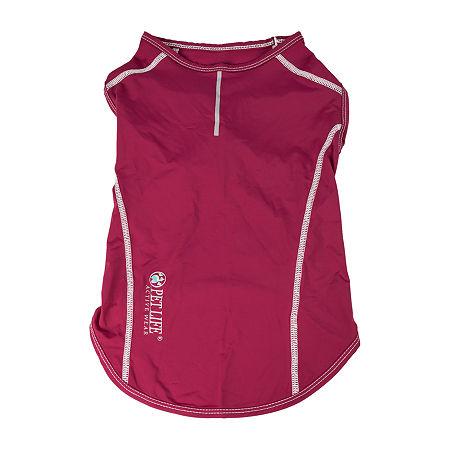 Pet Life  Active 'Racerbark' 4-Way Stretch Performance Active Dog Tank Top T-Shirt, Large , Red