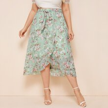 Plus Chiffon Floral Tie Front Ruffle Wrap Skirt