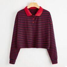 Polo Collar Striped Crop Tee