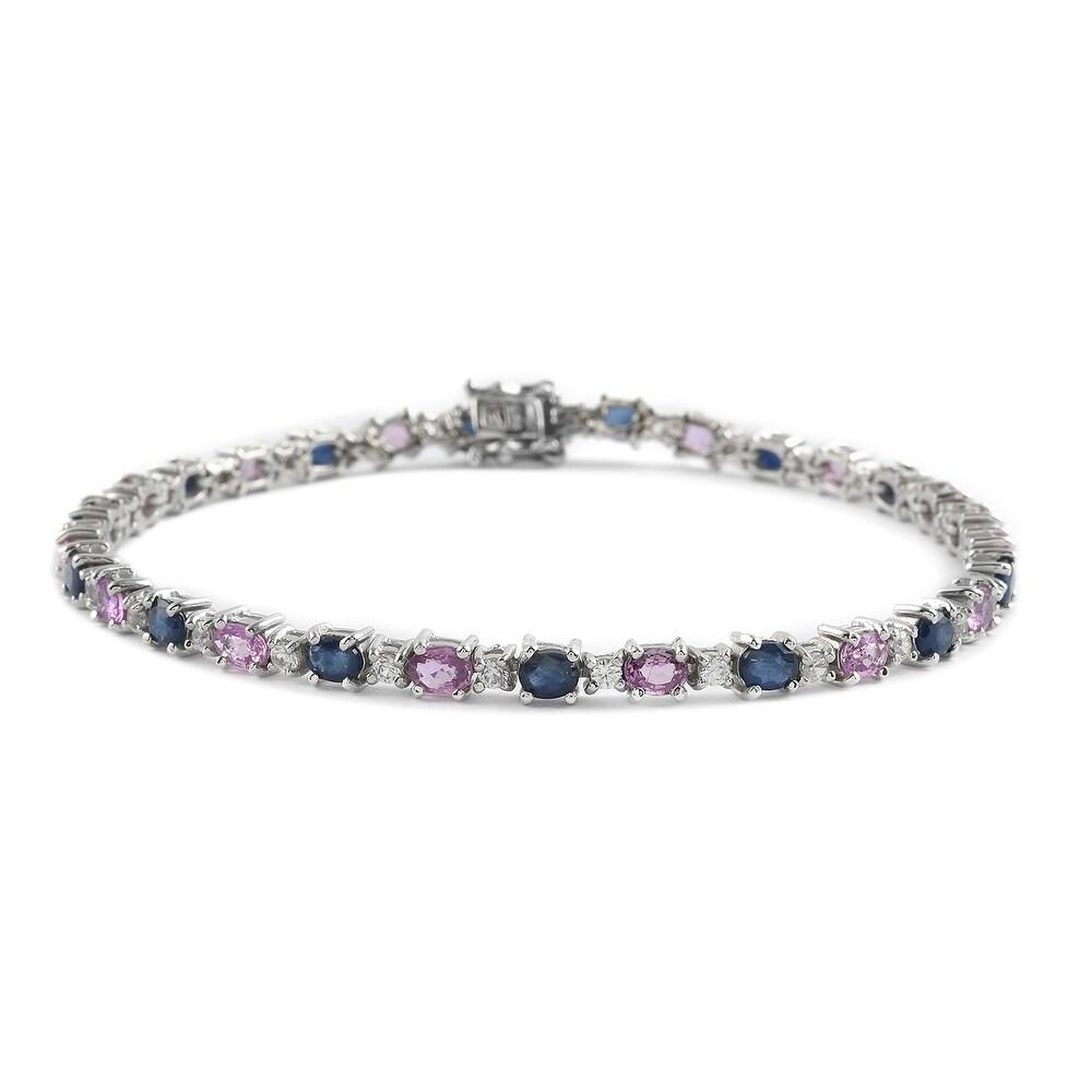 Platinum Over 925 Silver Blue Pink Sapphire Bracelet Size 8 In Ct 7.1 - Bracelet 8 (Sapphire - Blue - Blue - Bracelet 8)