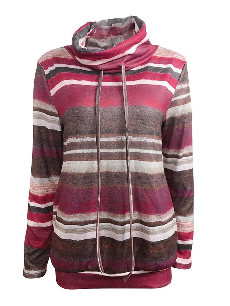 Ericdress Lace-Up Regular Color Block Long Sleeve Standard Hoodie