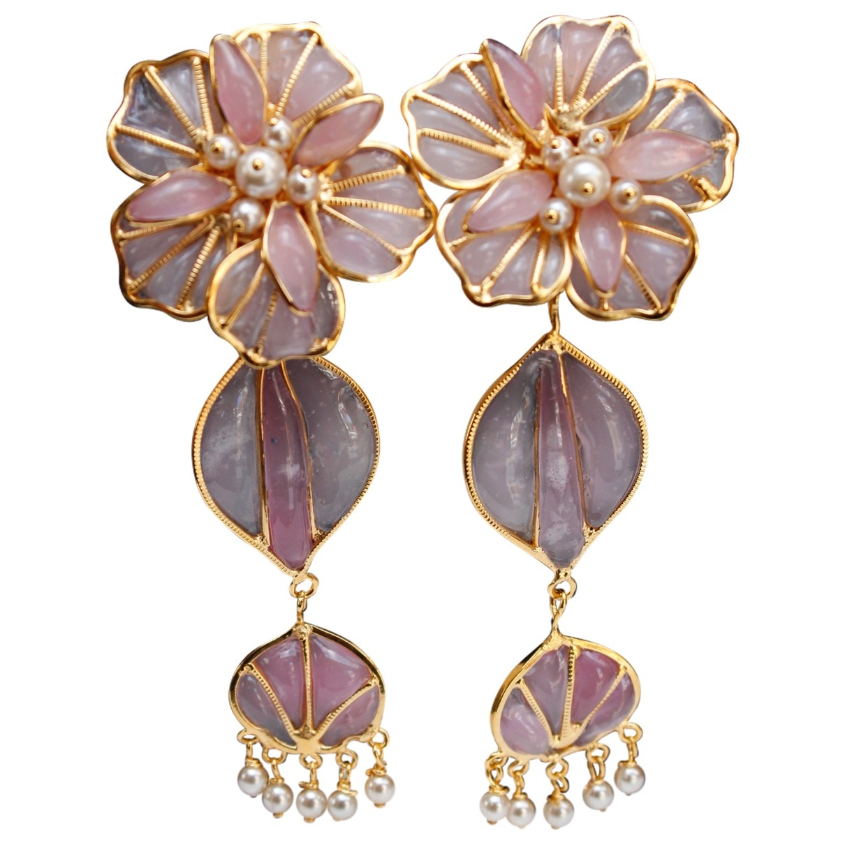 Non Signé / Unsigned Motifs Floraux Pink Glass Earrings for Women \N